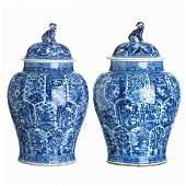 Pair of large Chinese porcelain lidded pots, Kangxi