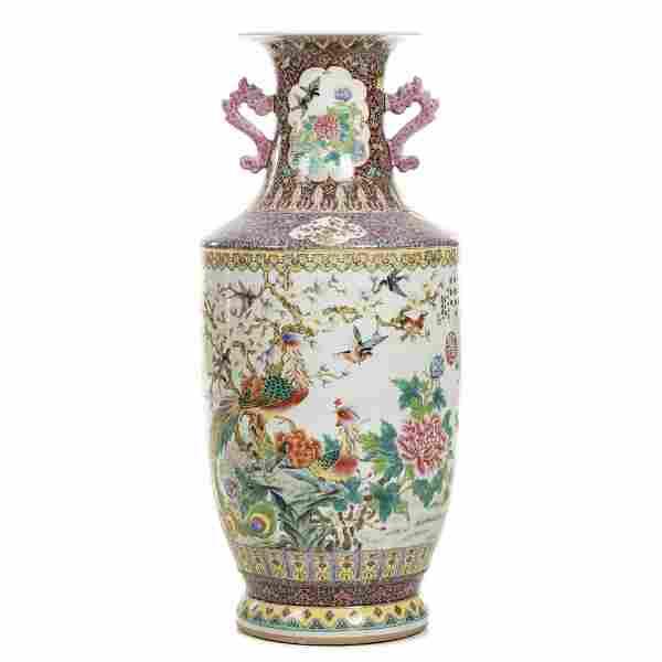 Large Chinese porcelain Phoenix vase, Republic