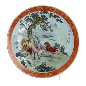Large porcelain 'horses' plate from China