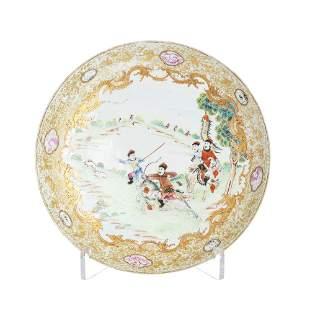 Chinese porcelain 'hunting scene' deep plate, Qian
