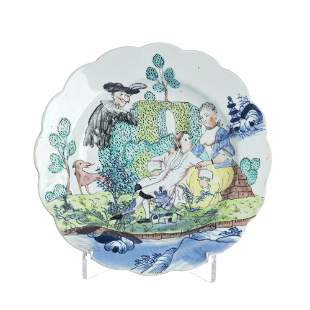 Chinese porcelain clobbered decoration plate, Qian