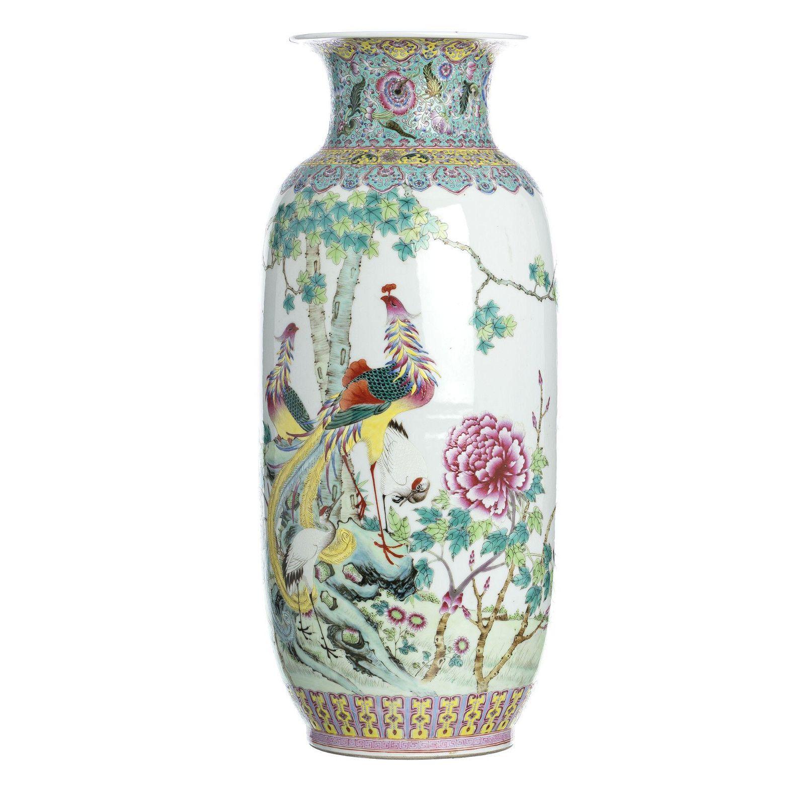 Large Chinese porcelain birds vase, Republic