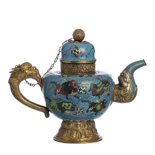 Large Chinese cloisonné kylin teapot, 19th