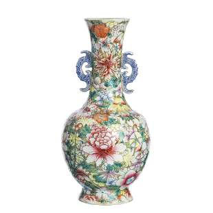 1000 Flowers vase in chinese porcelain, Daoguang