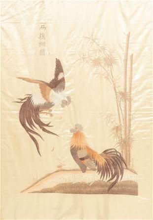 Chinese silk embroidery with roosters, Guangxu