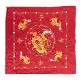 Chinese silk embroidery with dragons