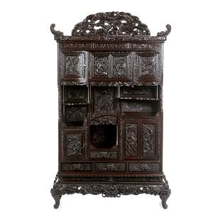 Large display cabinet  with carvings