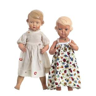 Two German celluloid dolls, Rheinische Gummi
