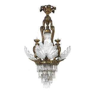 French crystal and bronze shell ceiling lamp