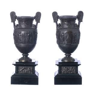 Pair of bronze amphorae