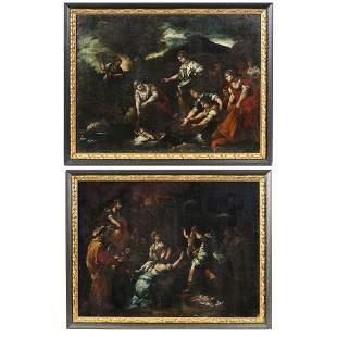 ITALIAN SCHOOL, 17thC - Pair of Biblical Scene