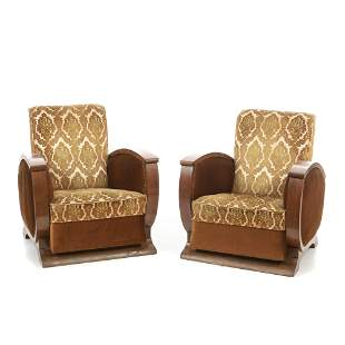 Pair of art deco lounge armchairs .