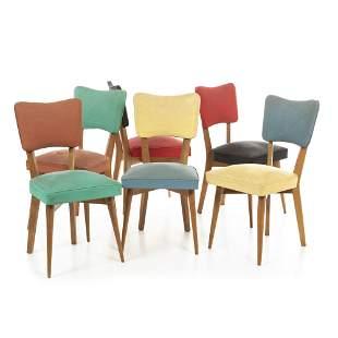 PORTUGUESE WORK, c.1950 - Six colour block chairs