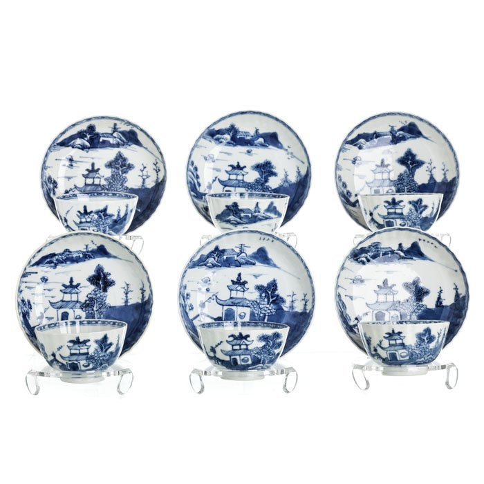 Six bowls with saucers in porcelain from China, Kangxi