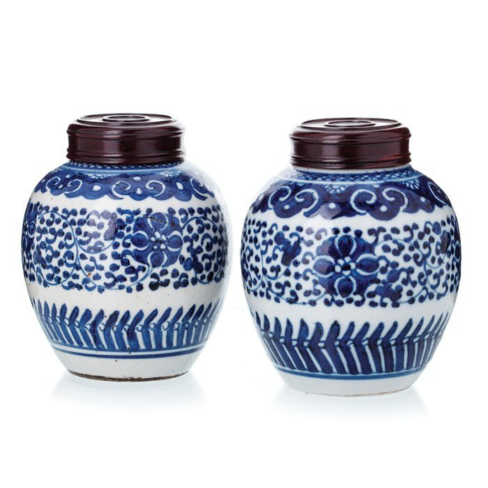 Pair of potiches in Chinese porcelain