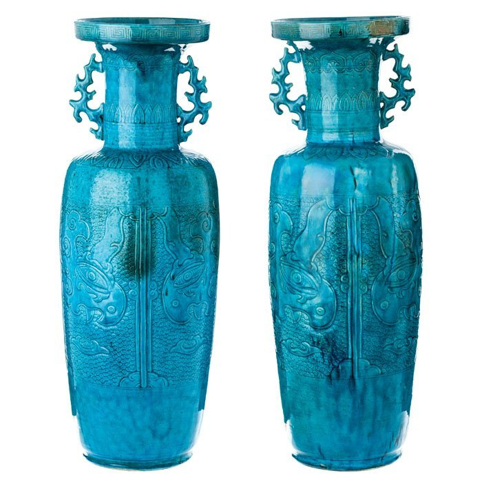 Pair of large blue vases of porcelain from China