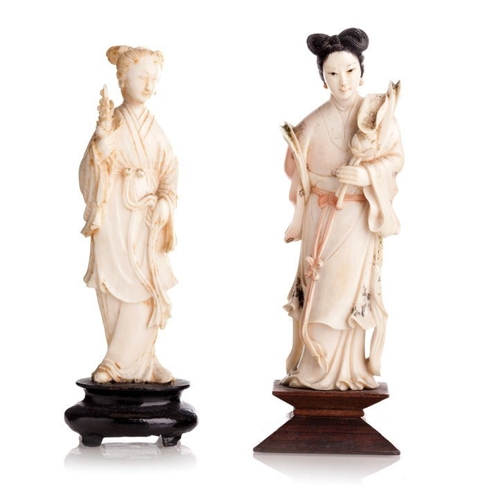 Two Chinese deities in ivory