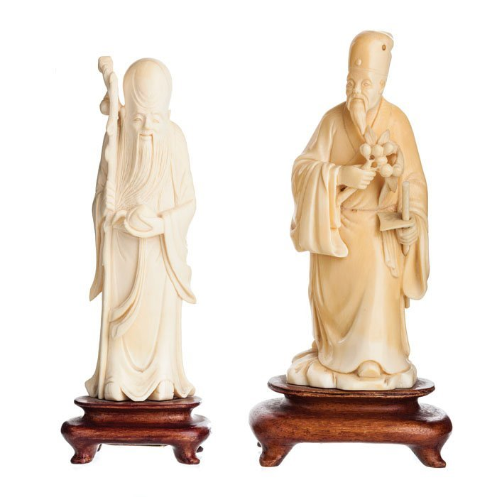 Two Chinese Immortals in ivory