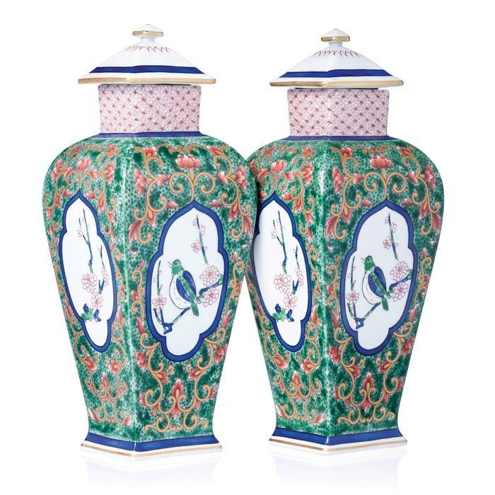 Pair of porcelain pieces, 'birds', by Vista Alegre
