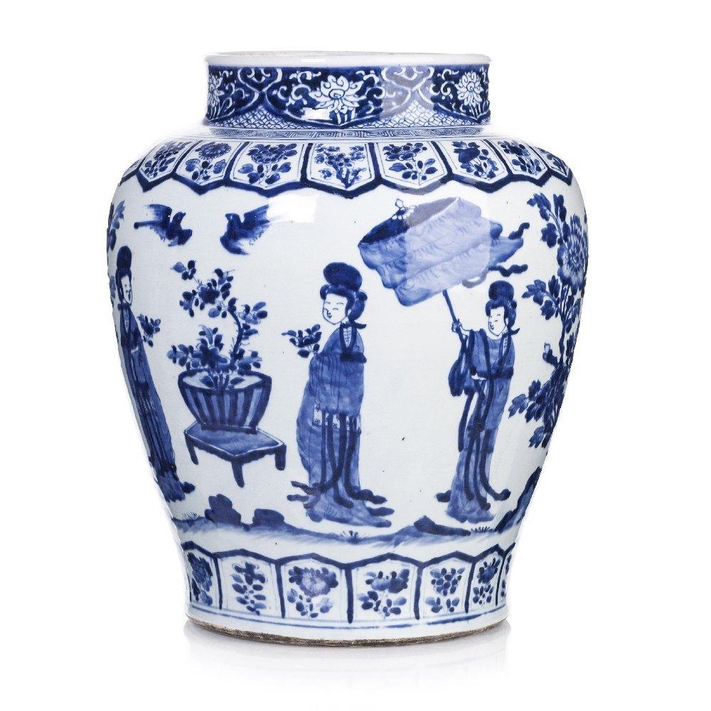 Large figurative pot in Chinese porcelain, Kangxi