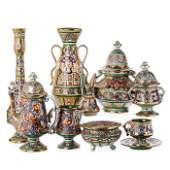 Tea set for six in Italian Deruta ceramics