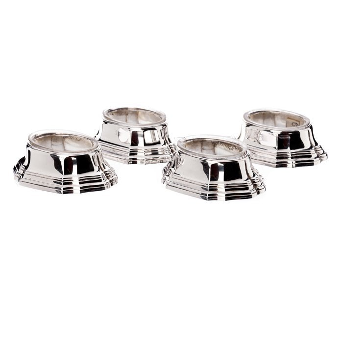 Four salt cellars in French silver