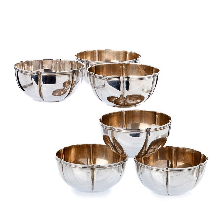 Six silver washbowls