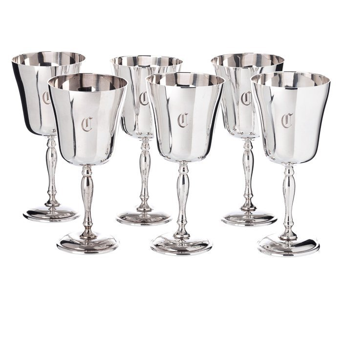 Six glasses with a monogram in English thin rind