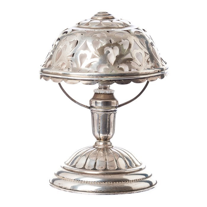 Art deco table lamp in silver