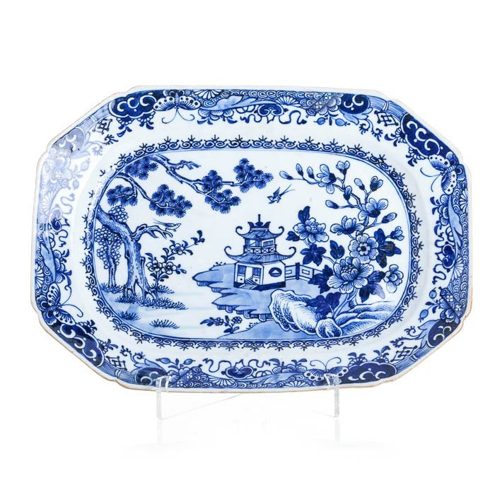Eight-sided long plate with a pagoda, Qianlong