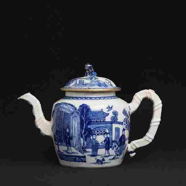 Chinese porcelain landscape Teapot, Qianlong