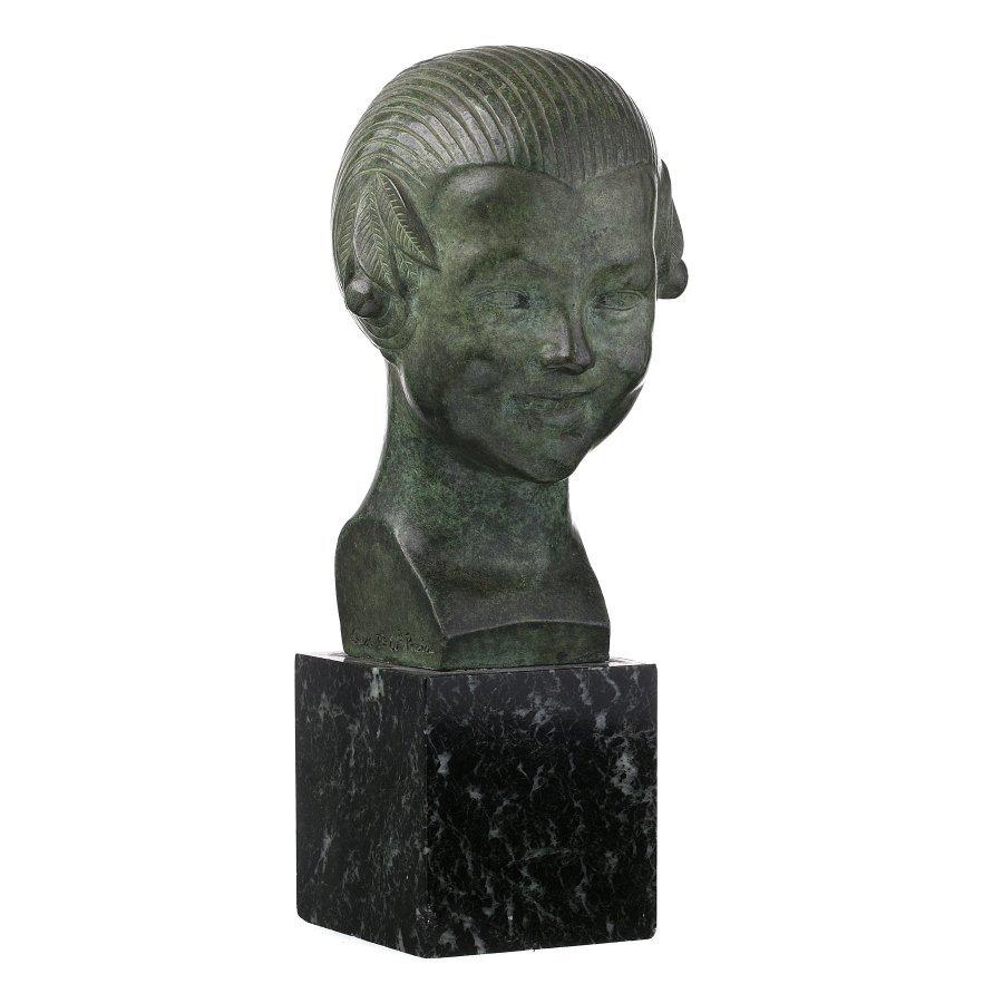 GASTON HERBEMONT (1883-?) - Bust of Girl with cherries