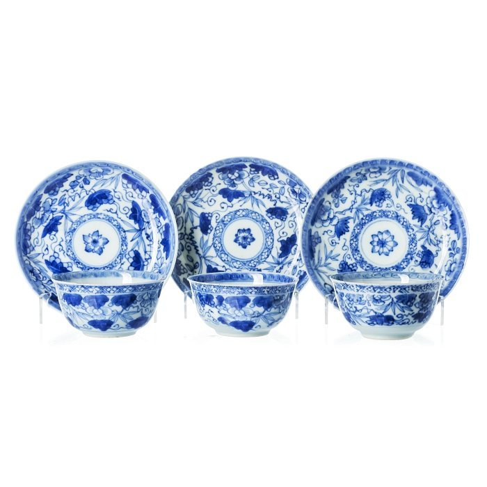 Six cups and saucers in Chinese porcelain, Kangxi