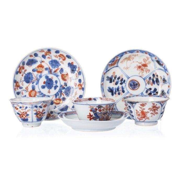 Three cups and saucers in Chinese porcelain, Kangxi