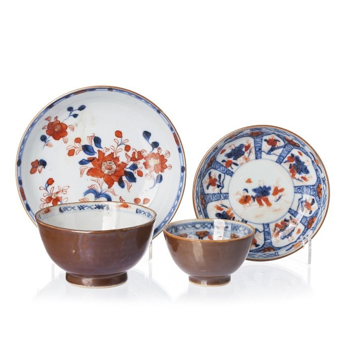 Two cups and saucers, chocolate and imari in Chinese