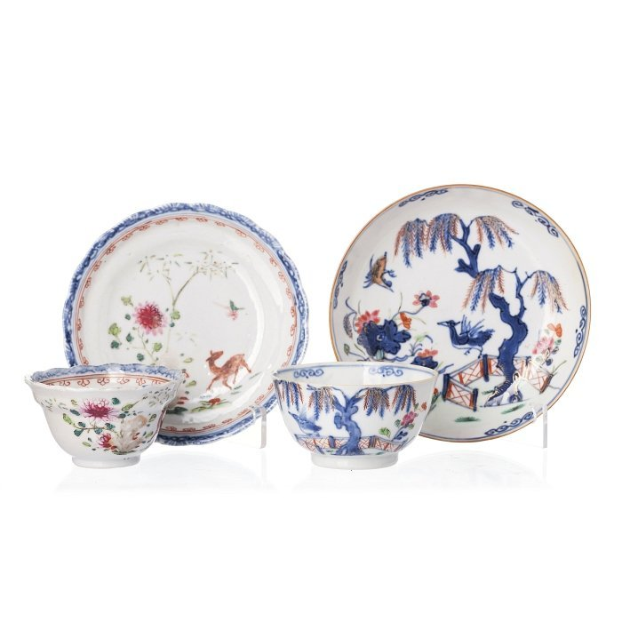 Two bowls with saucers 'deer and bird' in Chinese