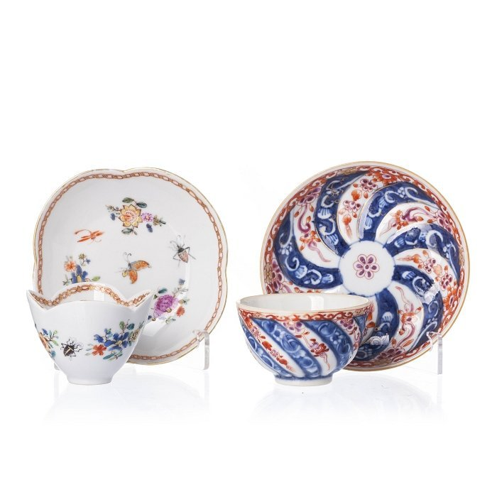 Two cups and saucers in Chinese porcelain, Meissen