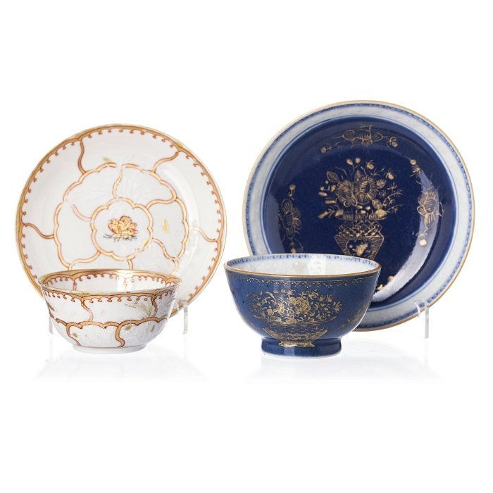 Two cups and saucers in Chinese porcelain, Qianlong