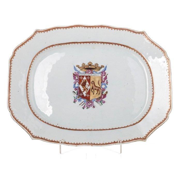 Tray in Chinese porcelain, Qianlong,  Santistevan y