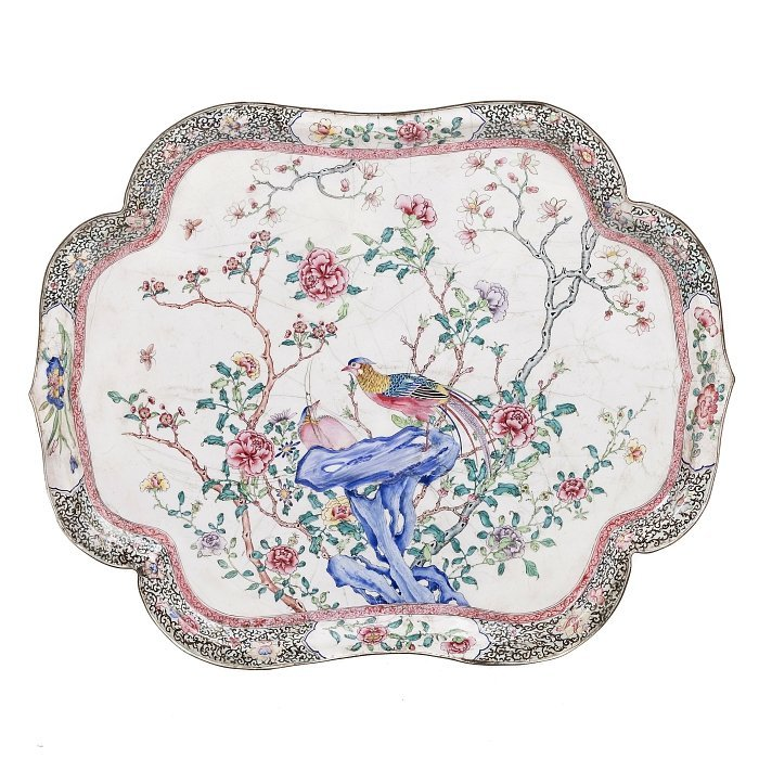 Chinese tray in enamel, Canton