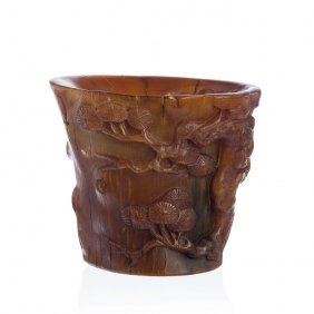 Chinese Libation Cup In Rhinoceros Horn