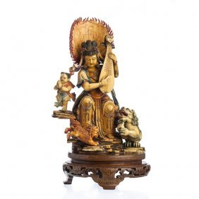 Chinese Female Deity With Mandolin In Ivory