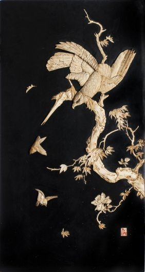Japanese Plaque 'eagle' With Applications In Ivory