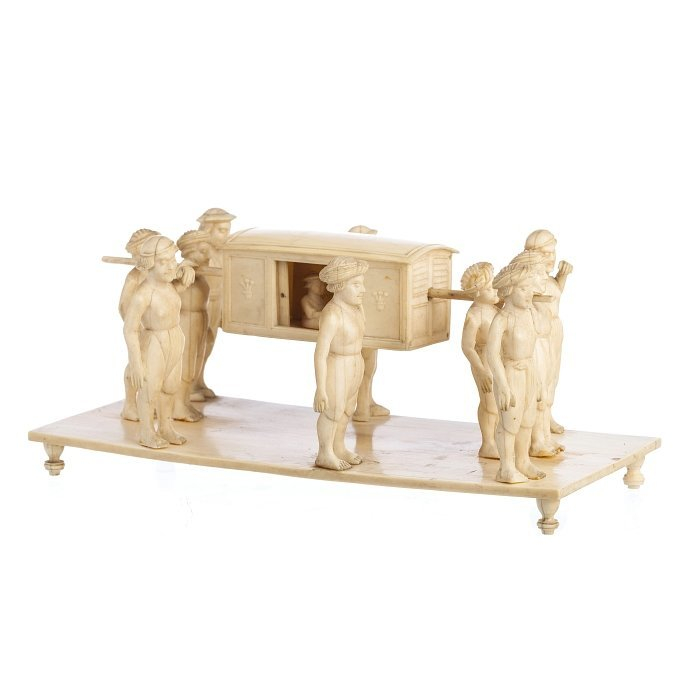 Sculptural group with sedan chair in ivory