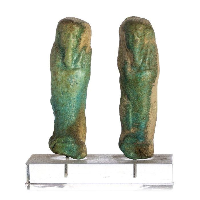 Shauabti / Ushabti two sculptures in Egyptian ceramic