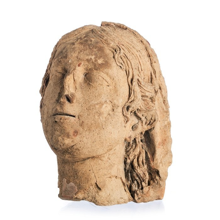 Minerva roman terracota head