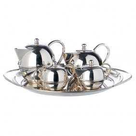 Modernist Tea And Coffee Silver Set With Tray