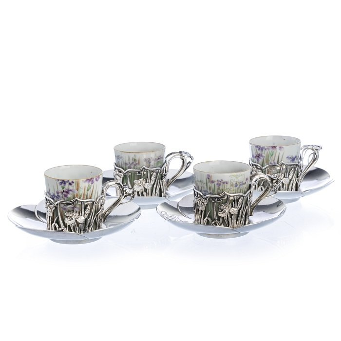 Coffee set for 20, Japanese silver and porcelain