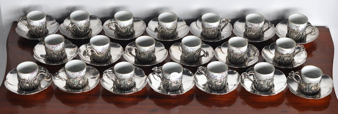 Coffee set for 20, Japanese silver and porcelain - 3