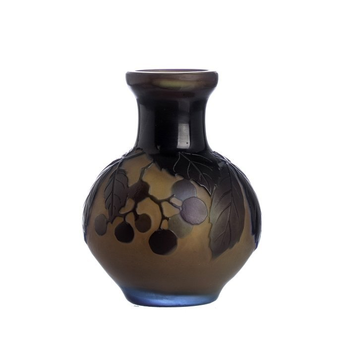 GALLE - Cameo Glass 'Berries' Vase